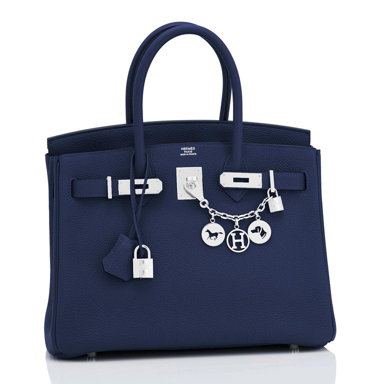 Hermes Blue Nuit Navy Jewel Tone Birkin 30cm Togo Palladium Bag Y Stamp, 2020 Devastatingly gorgeous! Brand New in Box.  Store Fresh.  Pristine Condition (with plastic on hardware). Just purchased from Hermes store! Bag bears new interior 2020 Y