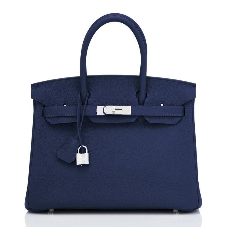 Black Hermes Blue Nuit Navy Jewel Tone Birkin 30cm Togo Palladium Bag Y Stamp, 2020 For Sale
