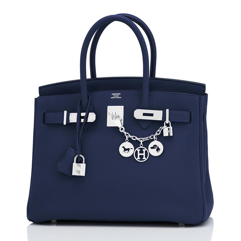 Hermes Blue Nuit Navy Jewel Tone Birkin 30cm Togo Palladium Bag Y Stamp, 2020 In New Condition For Sale In New York, NY