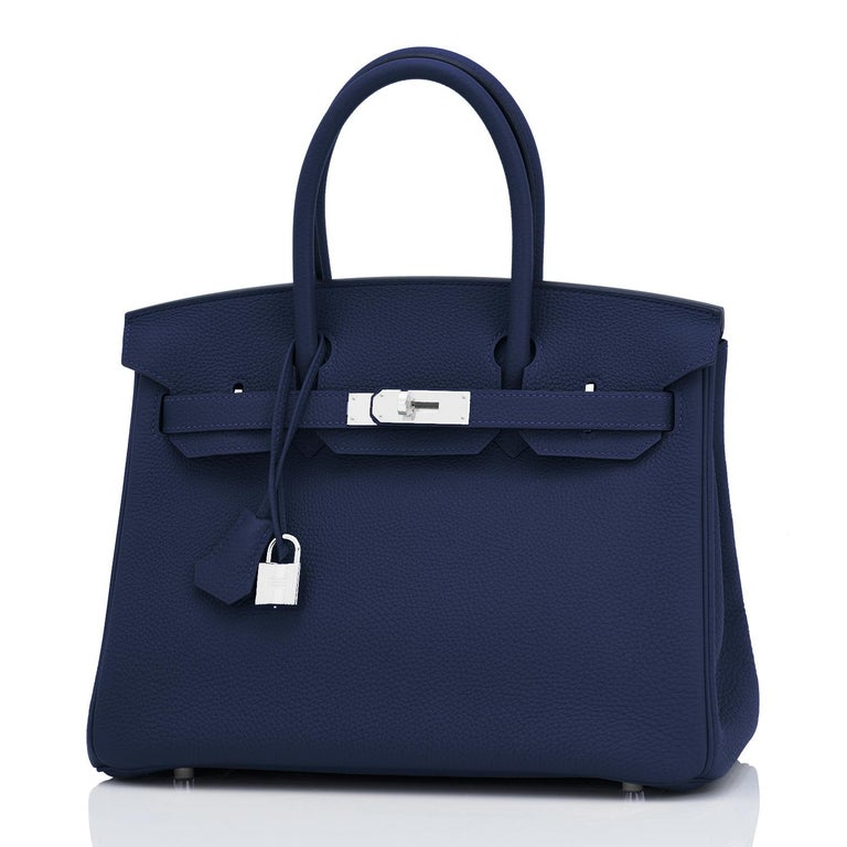 Hermes Blue Nuit Navy Jewel Tone Birkin 30cm Togo Palladium Bag Y Stamp, 2020 For Sale 1