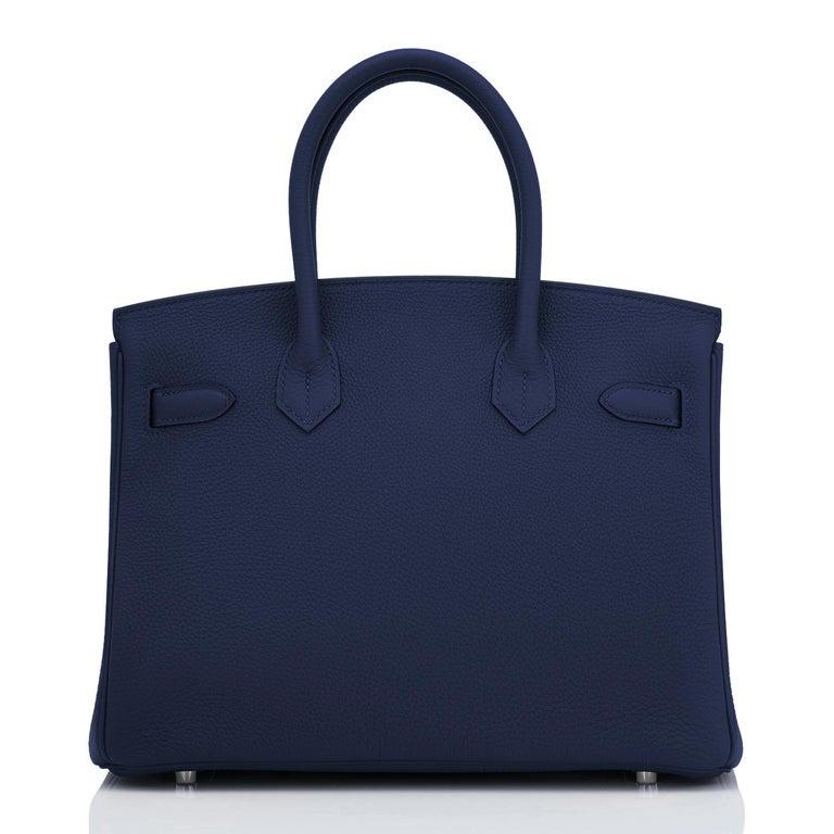 Hermes Blue Nuit Navy Jewel Tone Birkin 30cm Togo Palladium Bag Y Stamp, 2020 For Sale 2