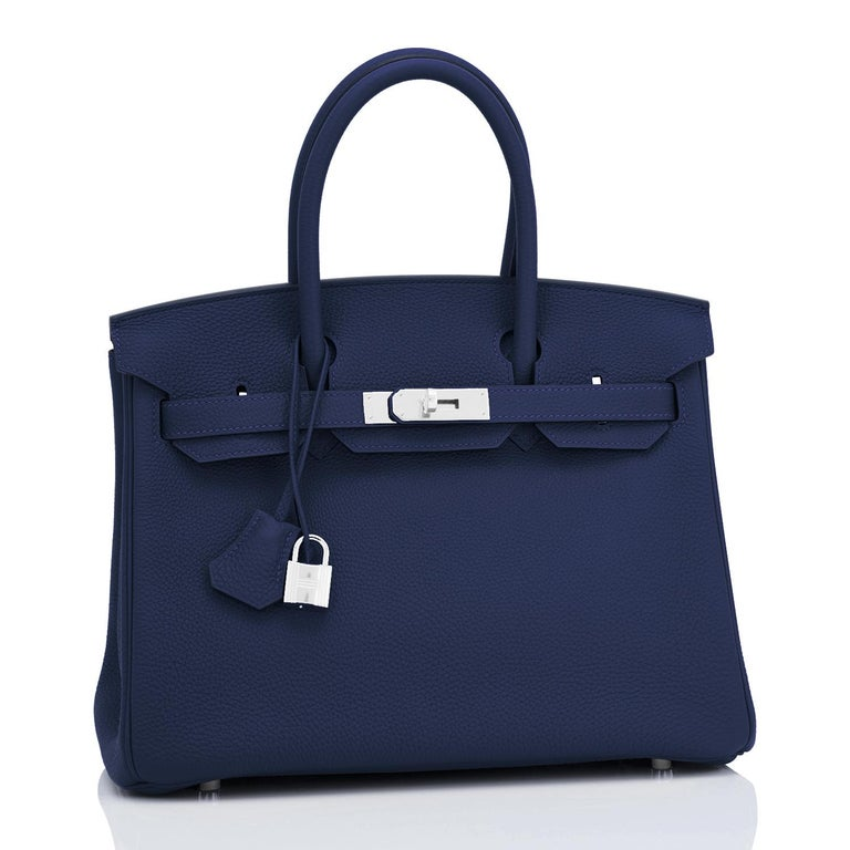 Hermes Blue Nuit Navy Jewel Tone Birkin 30cm Togo Palladium Bag Y Stamp, 2020 For Sale 3