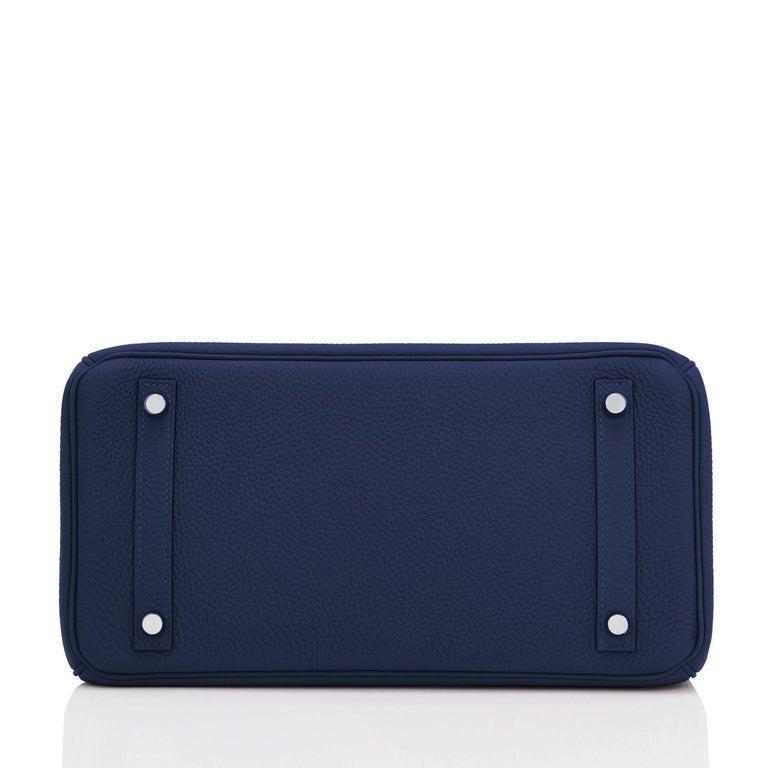 Hermes Blue Nuit Navy Jewel Tone Birkin 30cm Togo Palladium Bag Y Stamp, 2020 For Sale 4