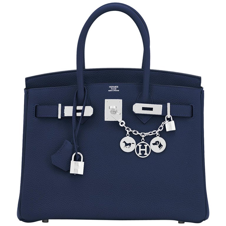Hermes Blue Nuit Navy Jewel Tone Birkin 30cm Togo Palladium Bag Y Stamp, 2020 For Sale
