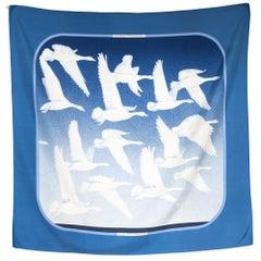 Hermes Blue Oiseaux Migrateurs by Cathy Latham Silk Scarf