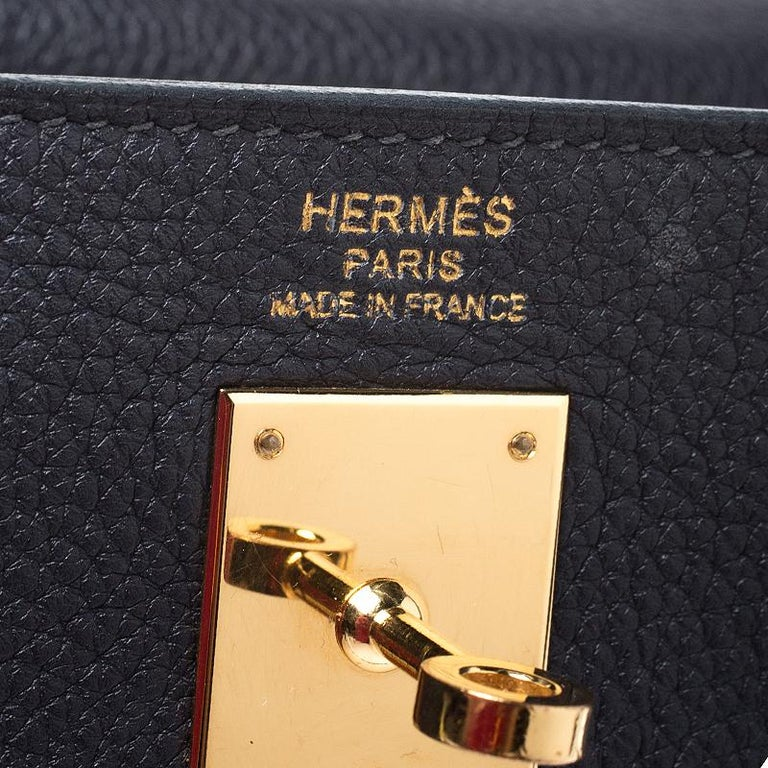 Hermes Blue Orage Togo Leather Gold Hardware Kelly Retourne 35 Bag For Sale 6
