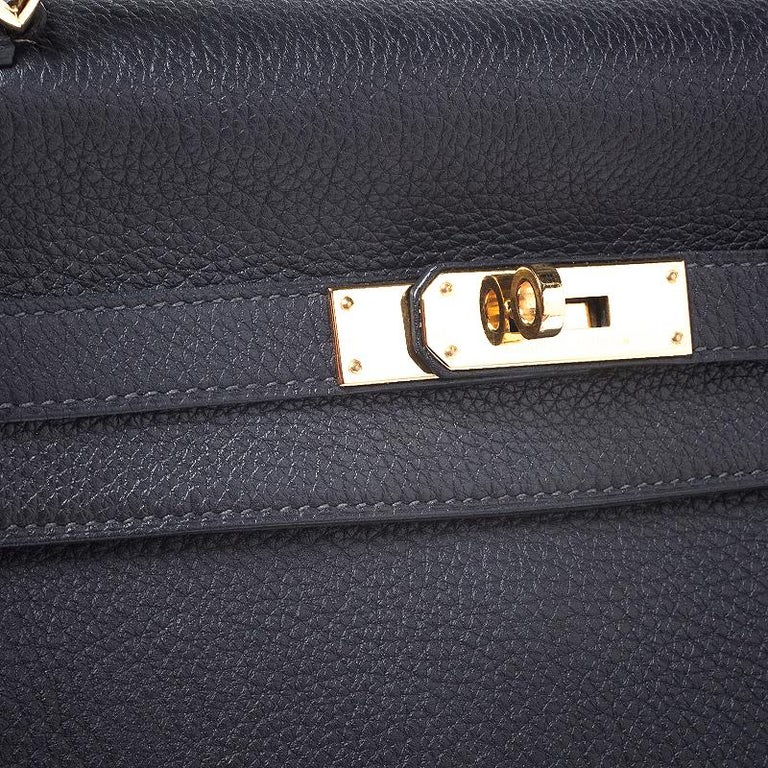 Hermes Blue Orage Togo Leather Gold Hardware Kelly Retourne 35 Bag For Sale 4