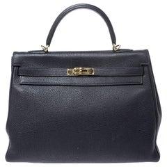 Hermes Blue Orage Togo Leather Gold Hardware Kelly Retourne 35 Bag