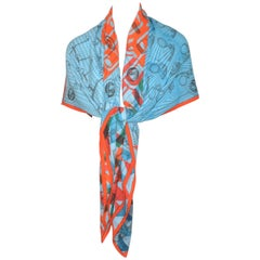 Hermes Blue, Orange Manufacture de Boucleries Shawl by Gianpaolo Pagni