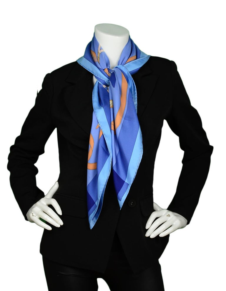 Hermes Blue/Orange Tout En Carre 90CM Silk Scarf In Excellent Condition For Sale In New York, NY
