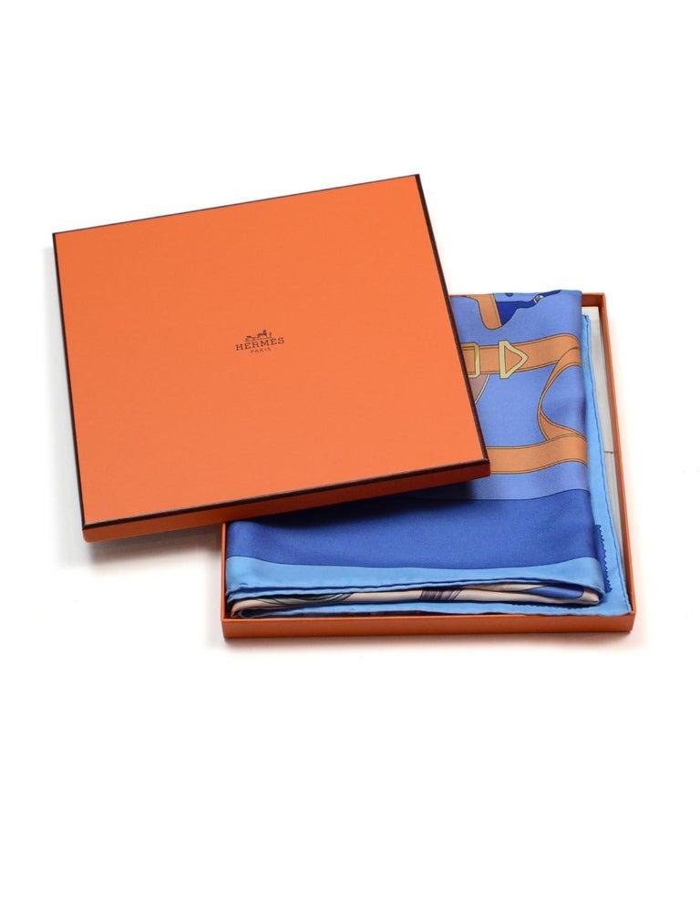 Hermes Blue/Orange Tout En Carre 90CM Silk Scarf For Sale 2
