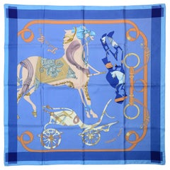Hermes Blue/Orange Tout En Carre 90CM Silk Scarf