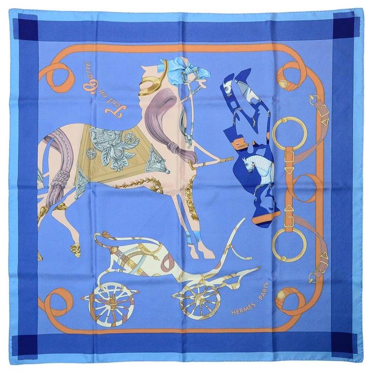 Hermes Blue/Orange Tout En Carre 90CM Silk Scarf For Sale