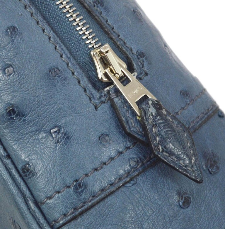 Ostrich Palladium-plated hardware Leather lining Zip closure Made in France Handle drop 6