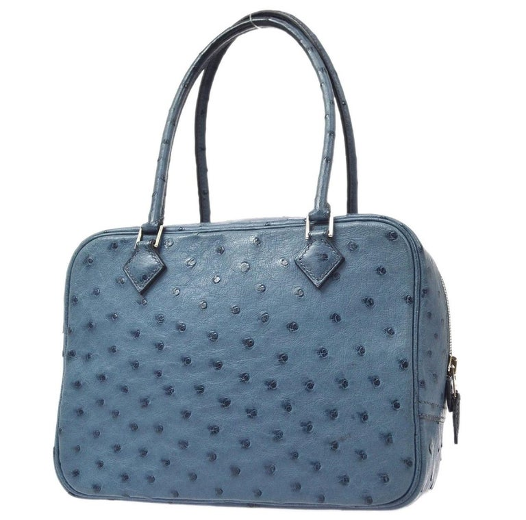 Gray Hermes Blue Ostrich Leather Exotic Skin Silver Evening Top Handle Satchel Bag