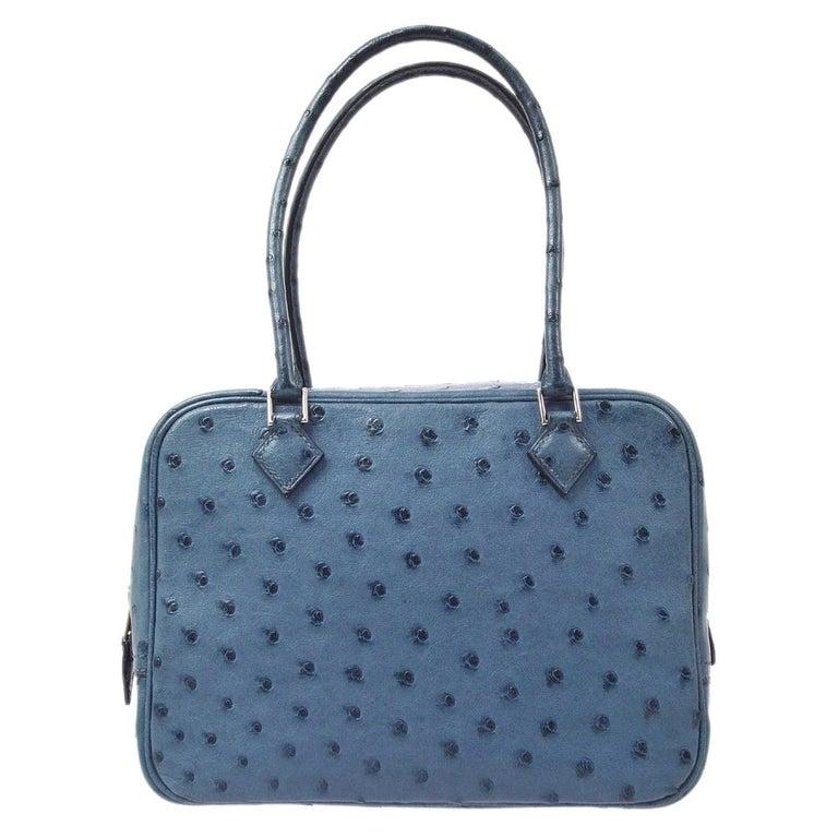Hermes Blue Ostrich Leather Exotic Skin Silver Evening Top Handle Satchel Bag