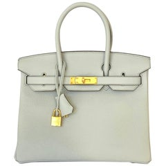 Hermes Blue Pale Birkin 30cm Gold Hardware