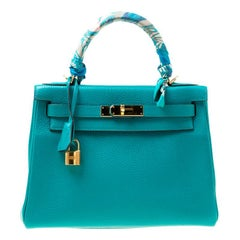 Hermes Blue Paon Clemence Leather Gold Hardware Kelly Retourne 28 Bag