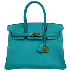Hermès Blue Paon Epsom 30 cm Birkin with Gold Hardware