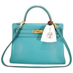 Hermès Blue Paon Togo 32 cm Kelly Bag