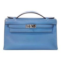 Hermès Blue Paradise Swift Kelly Pochette