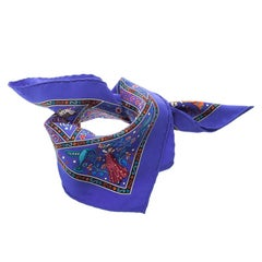 Hermes Blue Peuple Du Vent Printed Silk Square Scarf