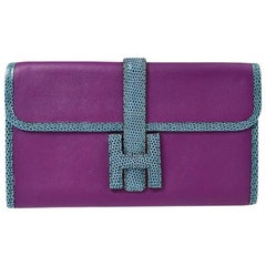 Hermes Blue Purple Lizard Exotic Leather 'H' Logo Wallet Clutch Bag in Box