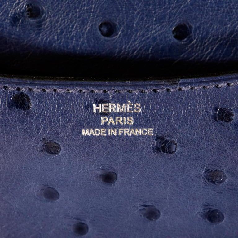 Hermès Blue Roi Ostrich Constance Mini 18 For Sale 9