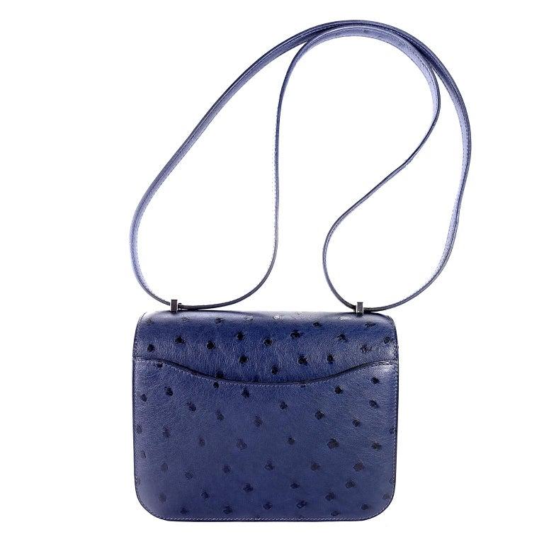 Women's Hermès Blue Roi Ostrich Constance Mini 18 For Sale