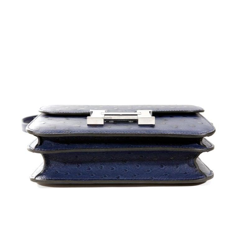 Hermès Blue Roi Ostrich Constance Mini 18 For Sale 1