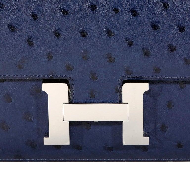 Hermès Blue Roi Ostrich Constance Mini 18 For Sale 2