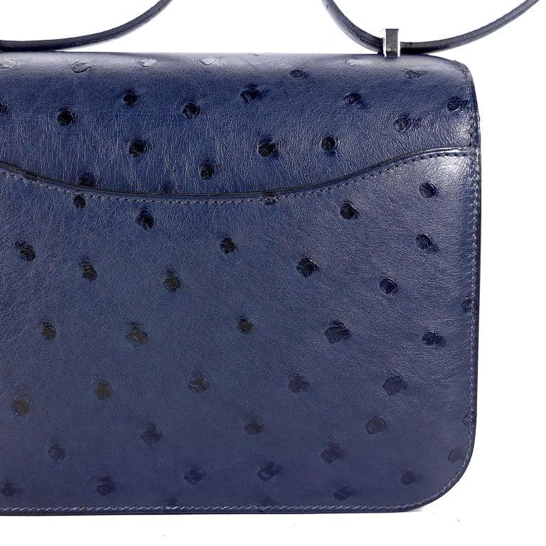 Hermès Blue Roi Ostrich Constance Mini 18 For Sale 4