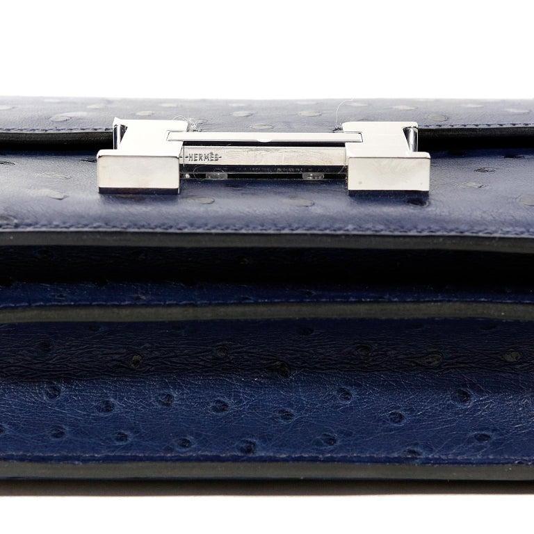 Hermès Blue Roi Ostrich Constance Mini 18 For Sale 5