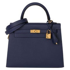 Hermès Blue Saphir Epsom Leather Kelly 25cm Sellier