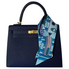 Hermes Blue Saphire Kelly 25  Epsom Sellier Bag Gold Hardware