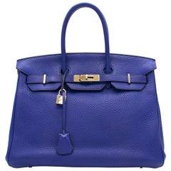 Hermes Blue Sapphire Togo leather 35cm Birkin