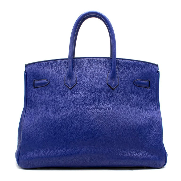 Hermes Blue Sapphire Togo leather Birkin 35cm In Good Condition For Sale In London, GB