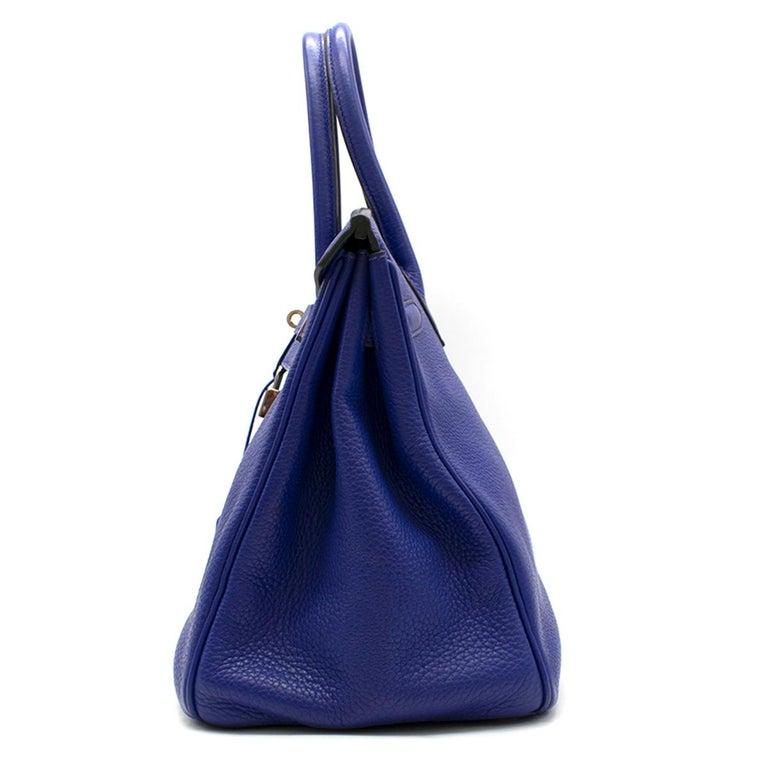 Women's Hermes Blue Sapphire Togo leather Birkin 35cm For Sale