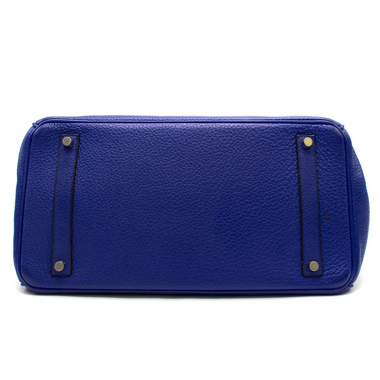 Hermes Blue Sapphire Togo leather Birkin 35cm For Sale 1