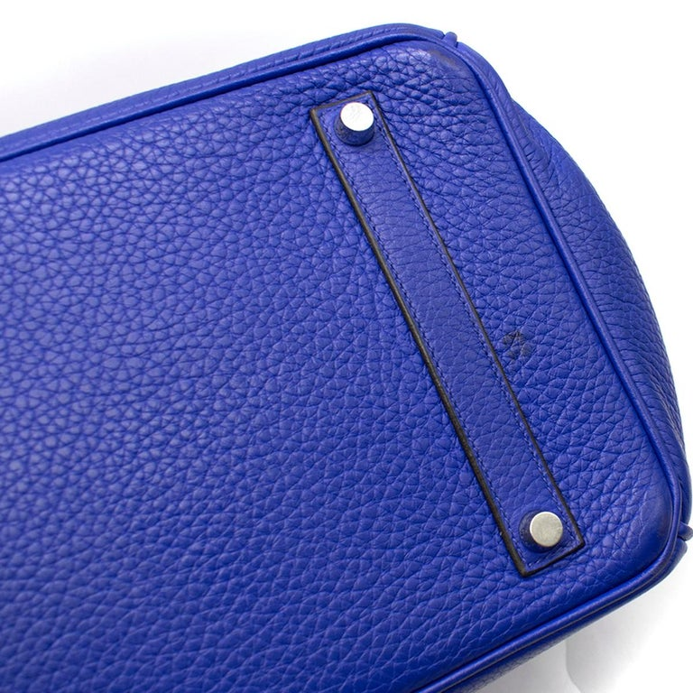 Hermes Blue Sapphire Togo leather Birkin 35cm For Sale 2