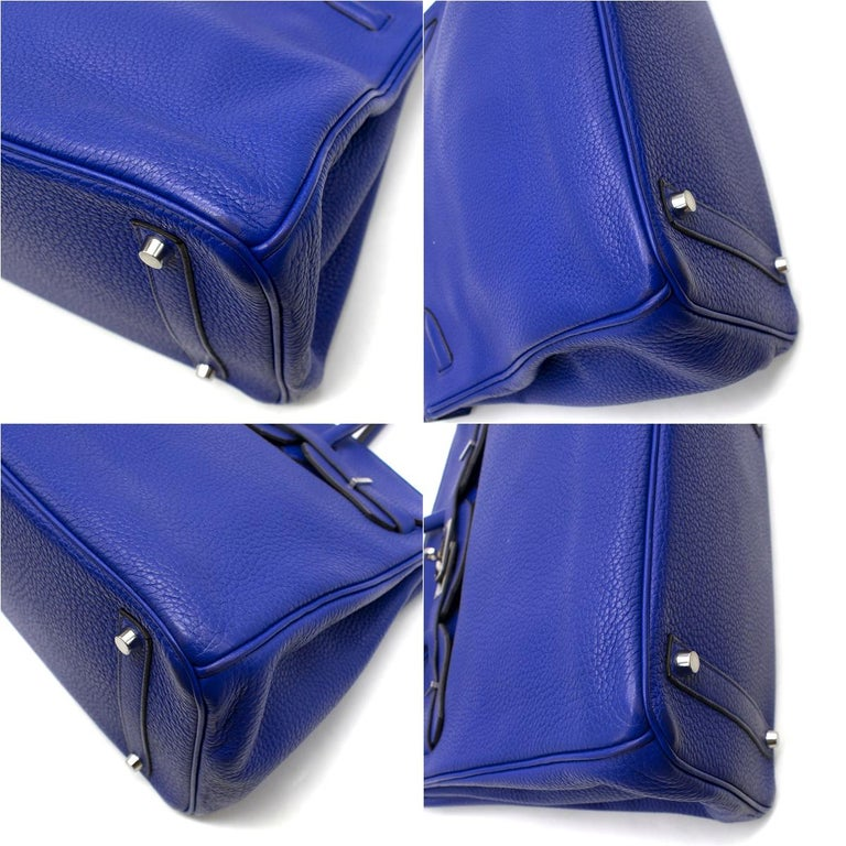 Hermes Blue Sapphire Togo leather Birkin 35cm For Sale 3