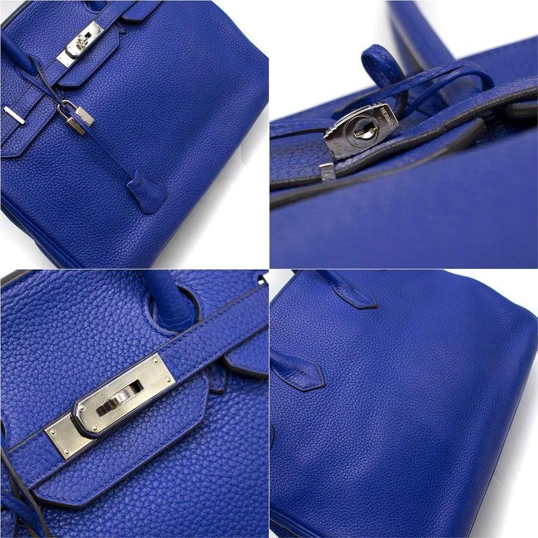 Hermes Blue Sapphire Togo leather Birkin 35cm For Sale 4