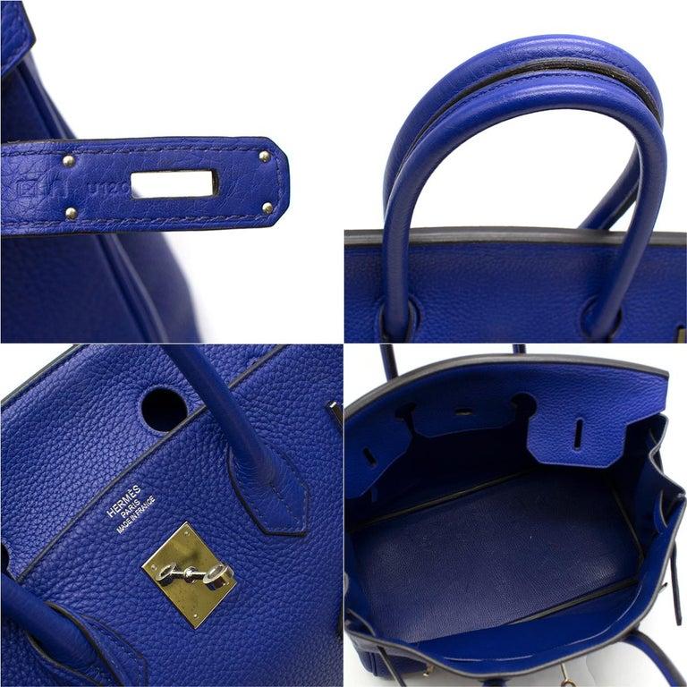 Hermes Blue Sapphire Togo leather Birkin 35cm For Sale 5