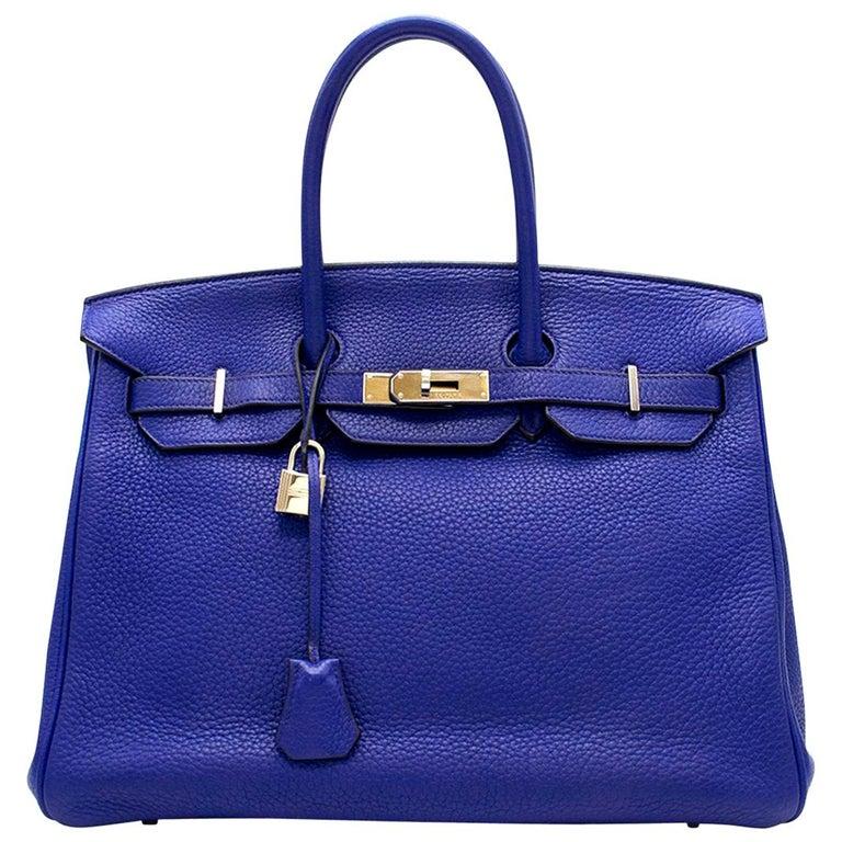 Hermes Blue Sapphire Togo leather Birkin 35cm For Sale