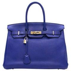 Hermes Blue Sapphire Togo leather Birkin 35cm