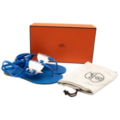 Hermes Blue Suede Ankle Wrap Thong Sandals