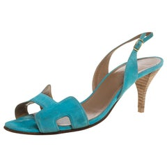 Hermes Blue Suede Leather Night Singback Sandals Size 39