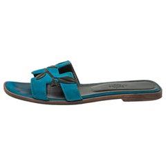Hermès Blue Suede Oran Laurier Sandals Size 38