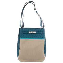 Hermes Blue Tan Canvas Exotic Leather Kelly Travel Single Shoulder Carryall Bag