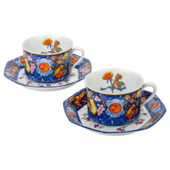Hermès Blue Teacups & Saucers, Set of 2